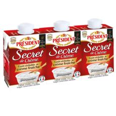 PRESIDENT Crème semi-épaisse légère 25%MG UHT 3x20cl
