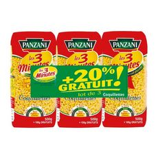 PANZANI Coquillettes cuisson rapide 3x500g+20% offert