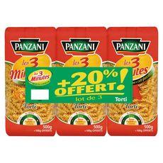PANZANI Tortis cuisson rapide  3x500G+20% offert