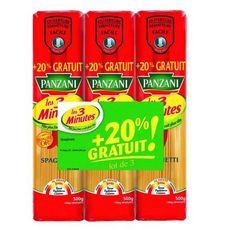 PANZANI Spaghetti cuisson rapide  3x500g +20% offert