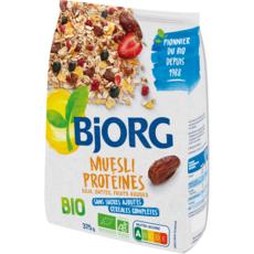 BJORG Muesli protéines soja dattes et fruits rouges bio sans sucre ajoutés 375g