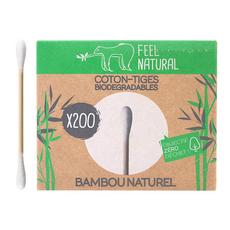 FEEL NATURAL Coton-tige biodégradable au bambou naturel   200 pièces