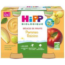 HIPP Biologique Délices de fruits purée de fruits pommes raisins sans sucre ajoutés sans gluten 2 pots 2x190g