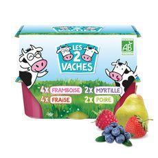 LES 2 VACHES Petits suisses aux fruits bio 12x50g