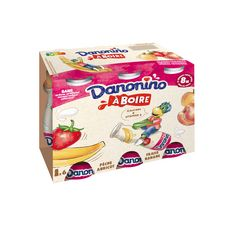 DANONINO Yaourt à boire banane fraise-pêche abricot 6x100g