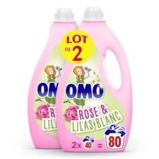 OMO Lessive liquide rose & lilas blanc 80 lavages 2x2l