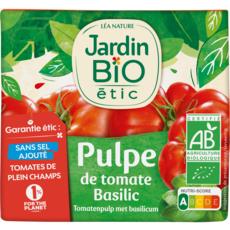 JARDIN BIO ETIC Pulpe de tomates au basilic sans sel ajouté, en brique 500g