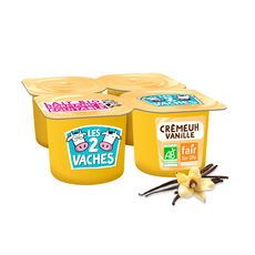 LES 2 VACHES Crème dessert bio vanille 4x95g