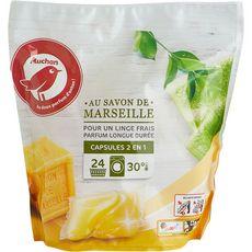 AUCHAN Capsules de lessive 2 en 1 au savon de Marseille 24 lavages 24 capsules