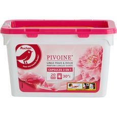 AUCHAN Capsules de lessive 2 en 1 pivoine parfum longue durée 20 lavages 20 capsules