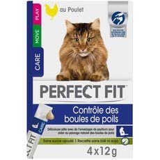 PERFECT FIT Pâté au poulet pour chat contrôle des boules de poils   4x12g