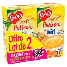LIEBIG Doux Plaisir Soupe de potiron et Kiri fabriqué en France 2x4 personnes 2x1l