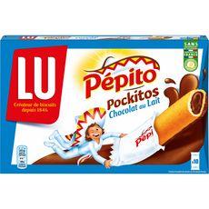 PEPITO Pockitos biscuits fourrés au chocolat au lait, sachets individuels 10 biscuits 295g