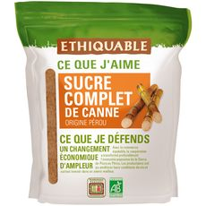 ETHIQUABLE Sucre complet de canne bio et équitable en poudre 500g