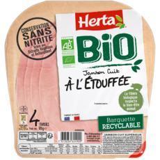 HERTA Jambon cuit à l'étouffée bio sans nitrite sans couenne 4 tranches 120g
