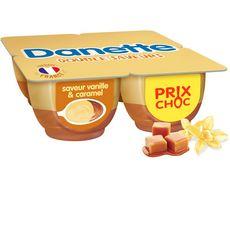 DANETTE Crème dessert à la vanille et au caramel 4x125g