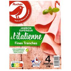 AUCHAN Jambon blanc à l'Italienne sans couenne supérieur 4 tranches fines 4 tranches 120g
