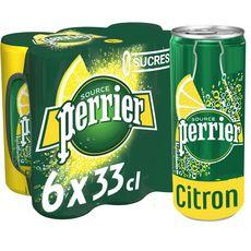 PERRIER Eau gazeuse aromatisée citron sans sucres boîtes 6x33cl