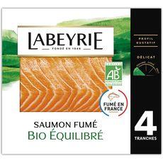 LABEYRIE Saumon fumé bio équilibré 4 tranches 110g