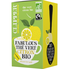 CLIPPER Thé bio fabulous, thé vert citron 20 sachets 35g