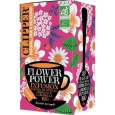 CLIPPER Infusion bio flower power, fleur de sureau hibiscus camomille 20 sachets 35g