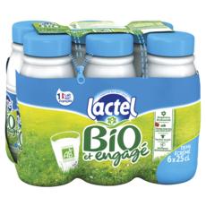 LACTEL Lait demi-écrémé bio UHT 6x25cl