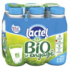 LACTEL Lait demi-écrémé bio UHT 6x50cl