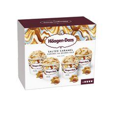 HAAGEN DAZS Mini pots de glace satled caramel 4 pièces 324g