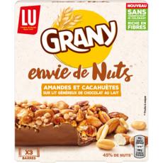 GRANY Envie de Nuts barres de céréales enrobées de chocolat amandes et cacahuètes 120g