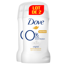 DOVE Original Déodorant stick zéro% 48h anti-irritation 2 pièces  2x40ml