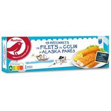 AUCHAN Bâtonnet panés de filets de colin d'Alaska MSC  15 pièces 450g