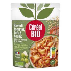 CÉRÉAL BIO Ravioli tomates tofu et basilic cuisinés sans viande sans conservateur en poche 250g