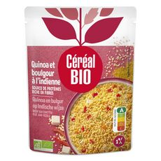 CÉRÉAL BIO Quinoa et boulghour cuisinés à l'indienne sans conservateur en poche 1 personne 220g