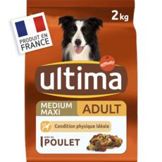 ULTIMA Croquettes au poulet et légumes pour chien (+10kg) 2kg