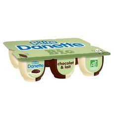 DANETTE P'tite Danette Bio Crème dessert Chocolat et lait 6x65g