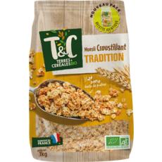 TERRES ET CEREALES BIO Muesli de céréales croustillant tradition 1kg