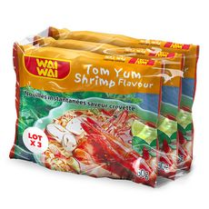 WAI WAI Nouilles asiatiques instantanées saveur crevettes 3x60g