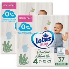 LOTUS BABY Douceur Naturelle Couches T4 de 7 à 12 kg 2 paquets de 37 pièces