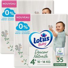 LOTUS BABY Douceur Naturelle Couches T4 10 à 14 kg 2 paquets de 35 pièces