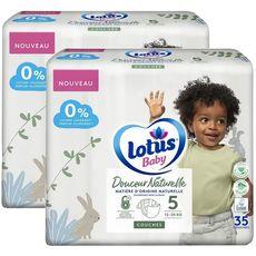 LOTUS BABY Douceur Naturelle Couche T5 12 à 20 kg 2 paquets de 35 pièces