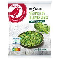 AUCHAN Mélange de légumes verts assaisonnés en sachet individuel 3 pièces 600g