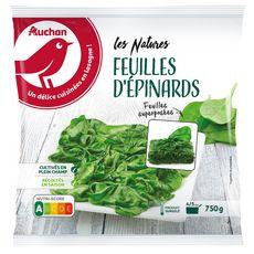 AUCHAN Feuilles d'épinards 3-4 portions 750g