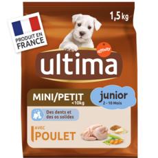 ULTIMA Mini junior croquettes au poulet pour chiot 1,5kg