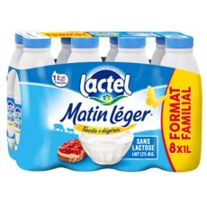 LACTEL Matin Léger Lait UHT 1,2% MG  8x1l