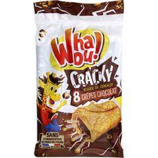 WHAOU Cracky crêpes fourrées chocolat et billes de céréales, sachets individuels 8 crêpes 256g