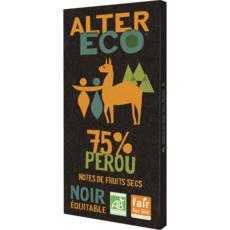 ALTER ECO Tablette de chocolat noir bio et équitable Pérou 75% 1 pièce 100g