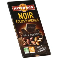 ALTER ECO Tablette de chocolat noir et éclats d'amandes bio et équitable du Pérou 1 pièce 100g
