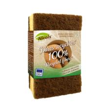 NICOLS Eponges grattantes pour surfaces délicates 100% fibres recyclées 2 éponges