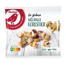 AUCHAN Mélange de champignons forestiers Bolets jaunes-Cèpes-Shiitakés-Pholiotes 3 portions 450g