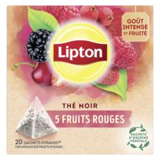 LIPTON Thé noir 5 fruits rouges 20 sachets 34g